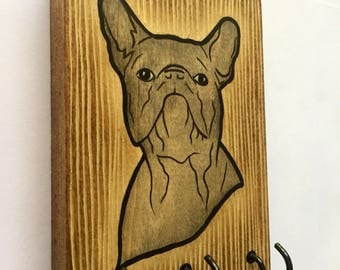 Hand Painted Rustic Grey Frenchie Leash Holder / Key Hanger. A fun and functional gift for dog lovers!