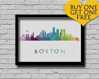Cross Stitch Pattern Boston Massachusetts City Silhouette Watercolor Effect Decor Modern Ornament Skyline Art xstitch Diy Chart