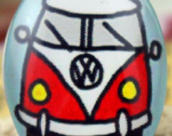 VW surfer camper van pin brooch - Glass and Silver Alloy - small 18x25mm
