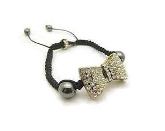 Shamballa rhinestone beads, Hematite and black bow