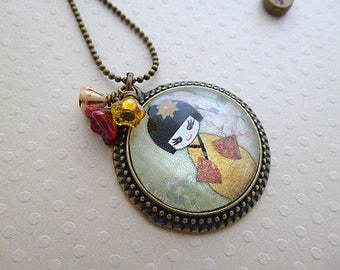 Vintage mod style Kokeshi necklace 7
