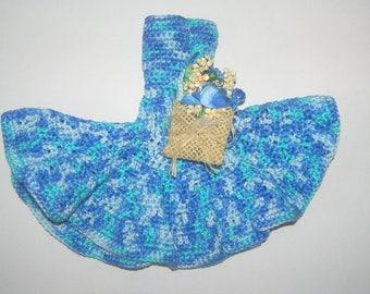 Hand made Heather color/sky blue with matching bag crochet Barbie dress