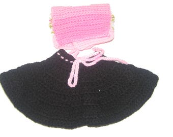 Together skirt black and pink baby doll 32 cm hand crocheted