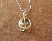 Treble - Sterling Silver Pendant Made Using 3D Printing | 3D Printed Pendant | 3D Printed Jewelry | Gift for Music Lover