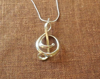 Treble - Sterling Silver Pendant Made Using 3D Printing | 3D Printed Pendant | Cast Metal Pendant