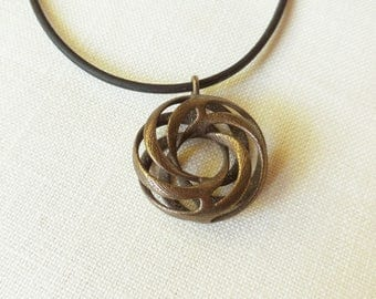 Twisted Torus - 3D Printed Pendant in Bronze Plated Steel | 3D Printed Jewelry |  Math Jewelry