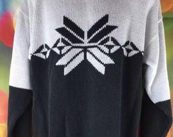 Men's Vintage Cosi White and Black Snowflake Nordic Ski Sweater Size Large