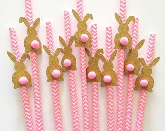 "12 pcs ""Bunny Pompom"" gold silver glitter pink or blue chevron paper straw for birthday party baby shower decor toddler girl boy"