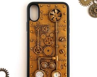 Steampunk iPhone X Case Steampunk Phone Case iPhone Case Dieselpunk iPhone Case Steampunk accessories for iPhone Gift idea