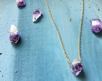 Raw Amethyst Crystal Necklace. Handmade.