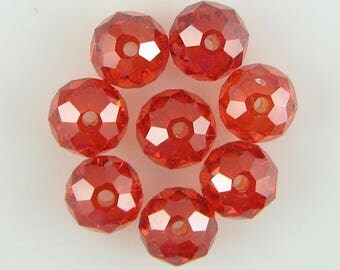 8 8mm faceted CZ cubic zirconia rondelle beads red 10294