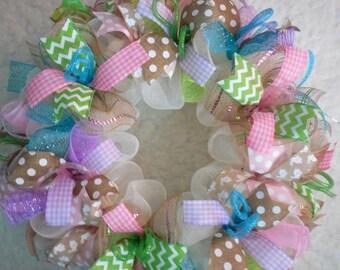 SALE Easter Wreath, Easter Wreaths, Spring Wreath, Spring Wreaths, Easter Decor, Easter Door Hanger, Easter wreath for door,Welcome