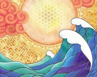 Golden Dawn Psychedelic Fine Art Print