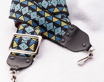 """Vintage Geometric Black, Blue, and Yellow Camera Strap, 38"""" Long, 2"""" Wide, for Canon, Nikon, Pentax, Sony, and Others"""