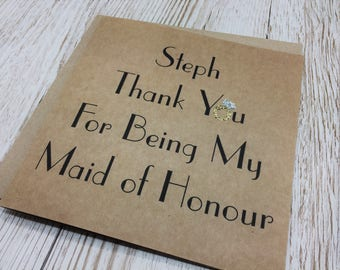 Personalised Thank You For Being My Maid of Honour Card - Maid of Honour Thank You Card - MOH Thank You Card - Maid of Honor Thank You Card