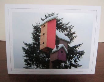 Photo Greeting Card   Handmade Card   Photo Note Card   Original Photography   Birdhouses in Snow