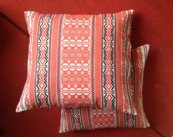 Pair of pillow cases Cushion Cover Pure cotton Red and black on white Folk style Pillowcase for cushion Decorative pillow  Gift idea