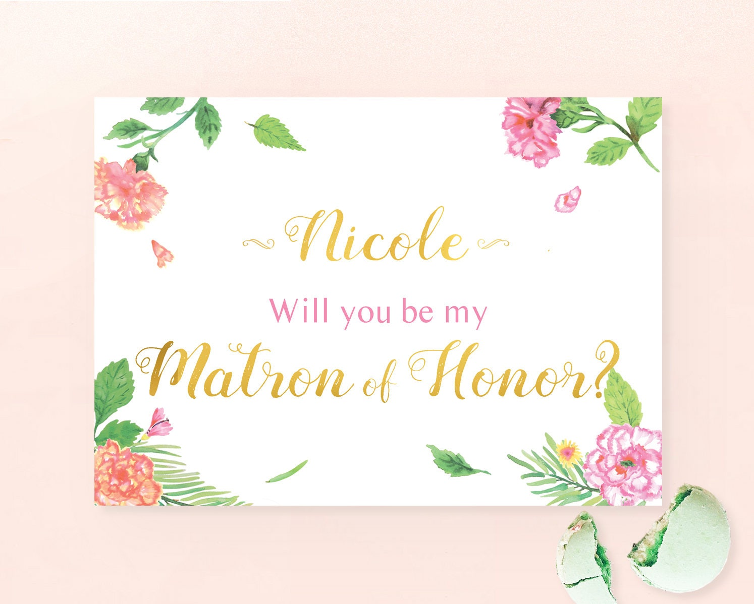Personalized Will You Be My Matron Of Honor Printable Card With
