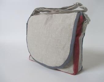 Postzak linnen -Nederlandse vlag-Messengerbag/ schoudertas/ schooltasje