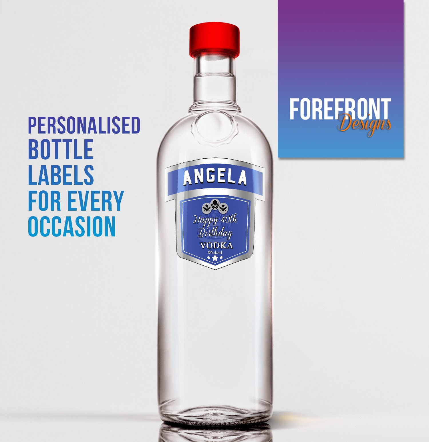 It is a graphic of Vibrant Personalised Vodka Bottle Labels