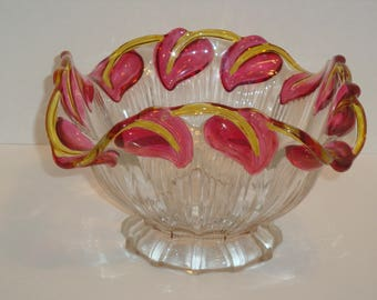 Vintage Hofbauer Crystal Company Four Sided Cranberry Leaf Bowl - Made in Germany