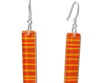 Colorful Stripes Fused Glass Rectangular Earrings, Colorful Earrings, Dangle Bar Earrings, Green or Orange Earrings