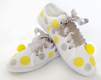 "Hand Painted and Decorated Sneakers ""Pomponi"" with Dots, Painted Sneakers with Satin Ribbon,Birthday Party,Gift for a Friend"