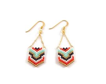 Geometric earrings beads Miyuki ★ gold gold filled mint red black ★