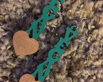 Vegan Love Wooden Earrings