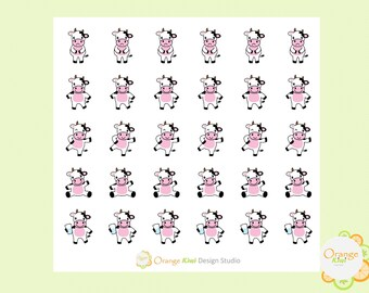 Cow Stickers, Kawaii Cow Stickers, Cow Planner Stickers, Erin Condren Life Planner