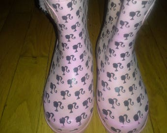 Buster Brown girls barbie shiloutte rubber boots  size s 9/10