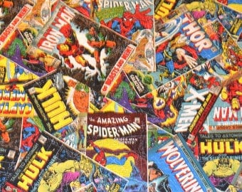 MARVEL COMIC FABRIC / 1/2 Yard For Quilting  / Comic Covers / Thor - Spiderman - Hulk - Xmen - Captain America