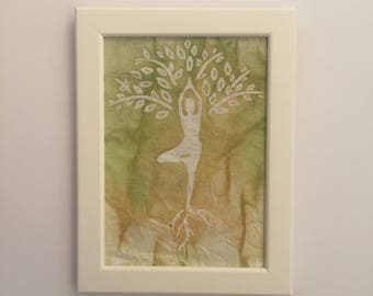 Yoga Tree Pose- Tree Pose Decor- Yoga Wall Decor - Yoga Lover Gift - Tree Pose Wall Art - Handmade Batik