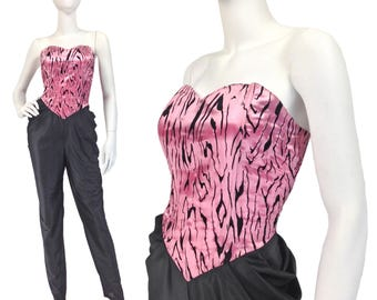 Vintage Clothing, Disco Jumpsuit, Pink Black Jumpsuit, 80s Jumpsuit, Strapless Jumpsuit, Glam Rock Jumpsuit, Animal Print, SIZE M 8 10