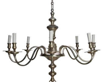 French Eight-Light Silver Metal Chandelier c.1940 [7558]