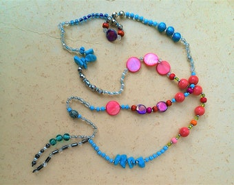 Long necklace, necklace, colorful necklace, boho