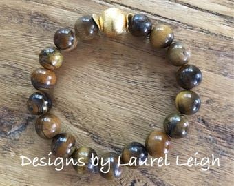 Tiger's Eye Beaded Bracelet | NATURAL, TAN, brown, neutral, stretchy, gold, DesignsbyLaurelLeigh, Designs by, Laurel Leigh
