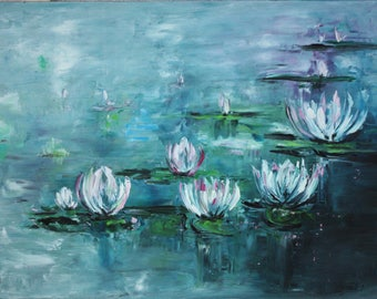 Original Oil Art Water Lilies Oil Painting Art Original Idea Home Decor Nature Inspire Water Lilies wall art lily pond painting
