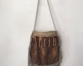 Red fox bag , shoulder fur & leather woman bag, size medium .