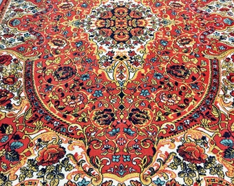 Really nice bright rug 100% wool oriental pattern red blue and yellow color warm vintage rug old big rug retro perfect for home&restaurant.