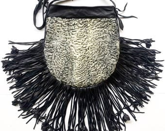 Fabulous fur bag real astrakhan fur&leather with leather fringe new bag designer bag handmade women's gray and black bag has size-medium.