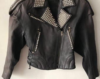 Motorcycle jacket from leather durable and genuine leather biker jacket vintage retro style short jacket women's brown color has size-small.