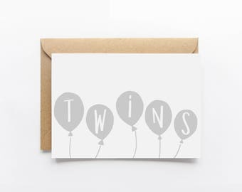 It's Twins Illustrated Greeting Card
