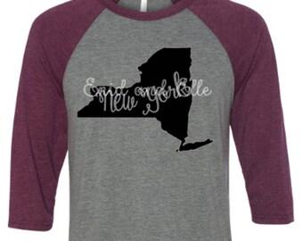 New York t-shirt - New York state shirt - New York home t-shirt - home shirt - New York baseball shirt - New York raglan shirt-Enid and Elle