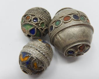 Three indian pearls silver metal, enamelled, free shipping
