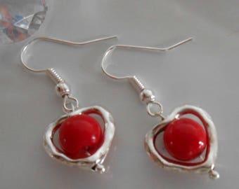 Red beaded heart earrings
