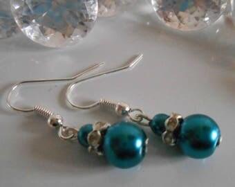 Wedding earrings peacock blue pearls and rhinestones