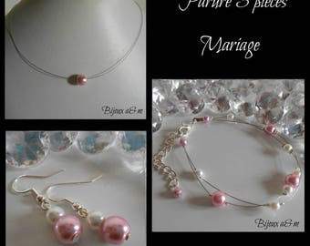 Set of 3 wedding pink pearls, white and old pieces