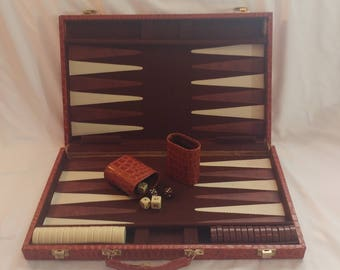 1970s Snakeskin Brown Travel Backgammon Suitcase Board Game