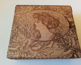 Etched art nouveau wood box
